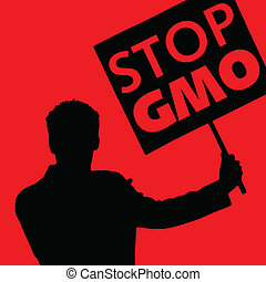man with the slogan stop gmo on red background