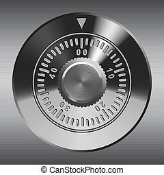 Combination lock, metallic effect. Realistic vector...