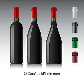 Wine bottles - Three different wine bottles.