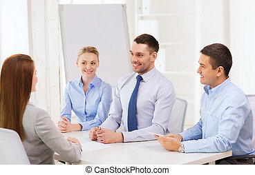 business team interviewing applicant in office - business,...