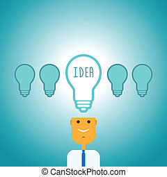 One Bright Idea - Vector illustration of a man with one...