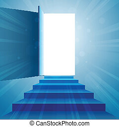 Stairway to Open Door - Vector illustration of a stairway to...
