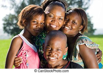 africano, mãe, crianças