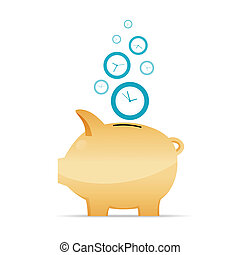 Time as Money Concept - Vector illustration of time as money...