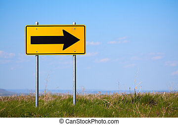 road sign right turn one way - road sign at the end of a...