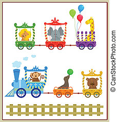 Circus Train - Cute circus train with baby animals. Eps10