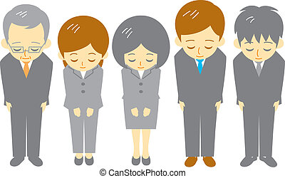 office workers, polite bow, vector file