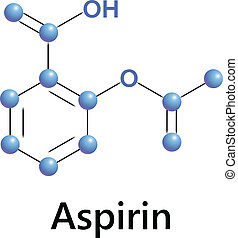 Aspirin chemical formula structure, a medical vector.