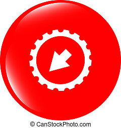 web icon arrow on gears cog sign web button