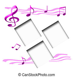 music lover scrapbook page pink notes on white