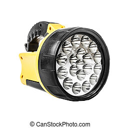 Yellow flashlight isolated on a white background