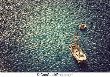 Wooden sailing boat sailing. - Wooden sailing boat sailing...