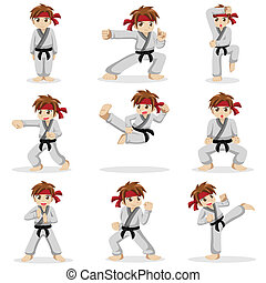 Different poses of karate kid - A vector illustration of...