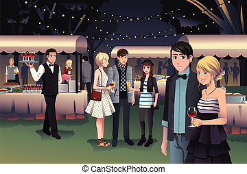 People having a night party outdoor - A vector illustration...