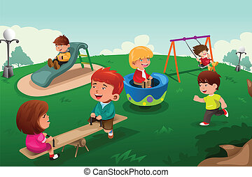 Kids playing in the park - A vector illustration of happy...