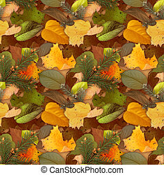 Camouflage seamless background with natural foliage -...