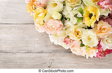 Flowers bouquet of peony, summer arrangement, wooden grunge...