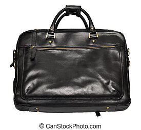 Leather bag isolated on white - Mens black leather bag...