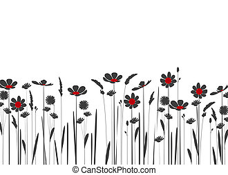 wildflowers - silhouette of meadow flowers on a white...
