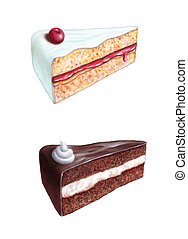 Cake slices - Cherry cake and chocolate cake slices Original...