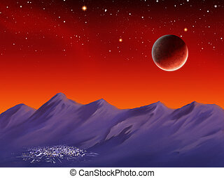 Spacescape - Planet rising over some mountains and a city at...