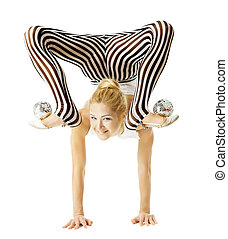 circus gymnast woman flexible body standing on arms upside down
