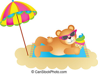 Teddy bear soaking up the sun - Scalable vectorial image...