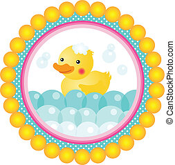 Label bath duck - Scalable vectorial image representing a...