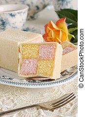 Battenberg Cake or Battenberg Square a sponge cake with pink...