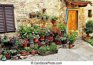 Alley with flowers in Italy