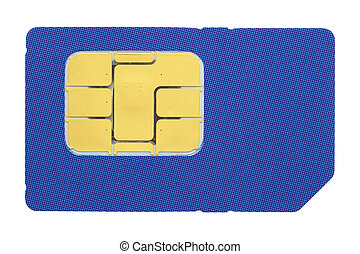 SIM card - Macro shot of a SIM card against white background...
