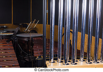 Tubular bells against the background of other percussion...