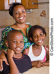 mom with children - african american mom and children in...