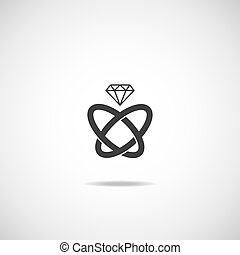 Wedding rings vector icon Wedding invitation Jewelry