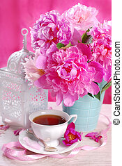 cup of tea and peony flowers - cup of tea ,pink peony...