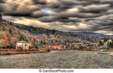The Neckar river in Heidelberg, Germany
