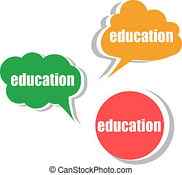 education. Set of stickers, labels, tags. Template for...