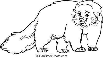 bearcat animal cartoon coloring page - Black and White...