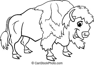 bison american buffalo coloring page - Black and White...