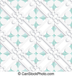 Diagonal clove leaves and flowers on green pattern