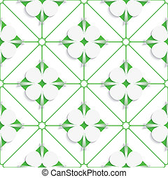 Diagonal clove leaves on green pattern
