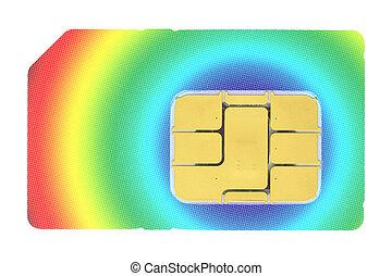 SIM card - Macro shot of a SIM card against white...
