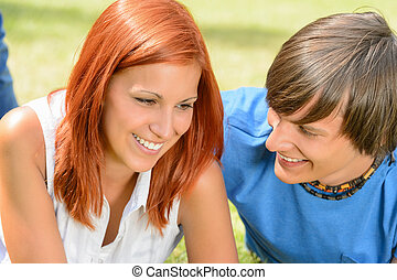First love teenage couple enjoy sunny day - First love...
