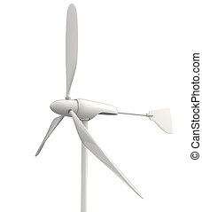 small wind turbine isolated on white background