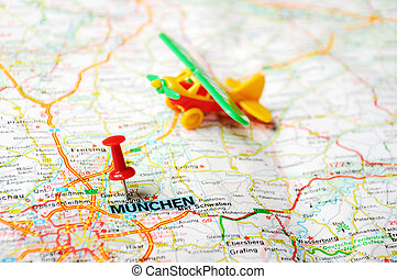 Munchen ,Germany map airplan - Close up of Munich ,Germany...