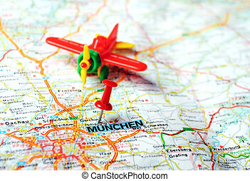 Munchen ,Germany map airplan - Close up of Munchen,Germany...