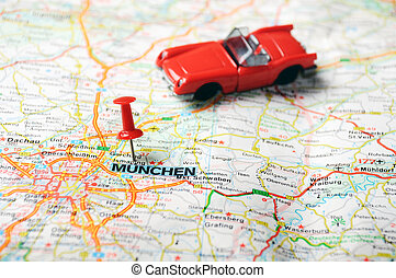 Munchen ,Germany map cabrio - Close up of Munchen ,Germany...