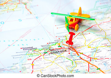 Rostock map airplan - Close up of Rostock map with red pin...