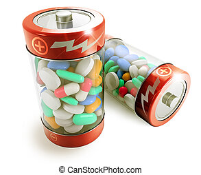 dietary supplement - two batteries full of colorful pills on...