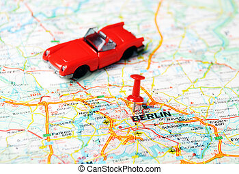 Berlin map cabrio - Close up of Berlin map with red pin an a...